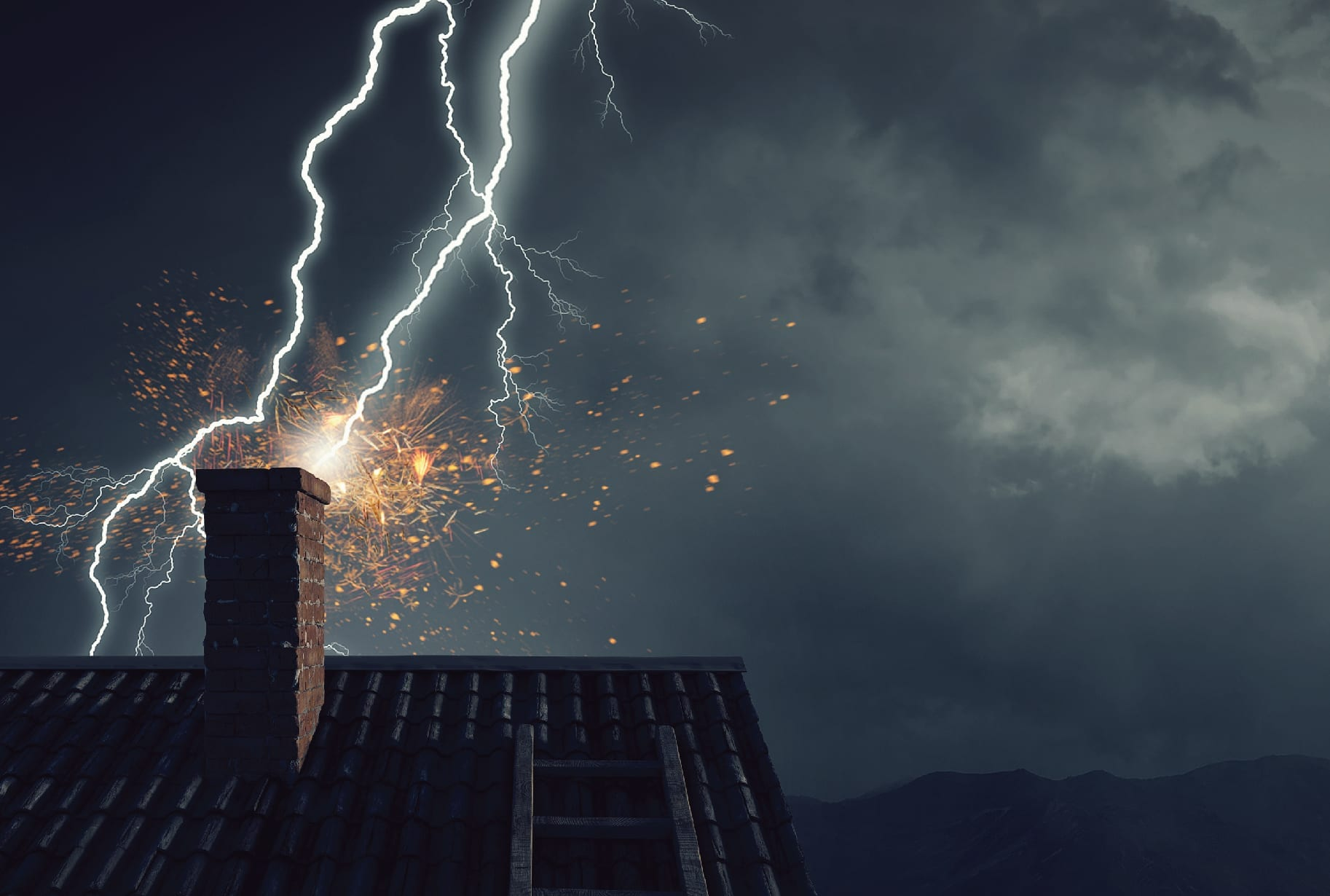 Lightning striking a home without residential lightning protection.