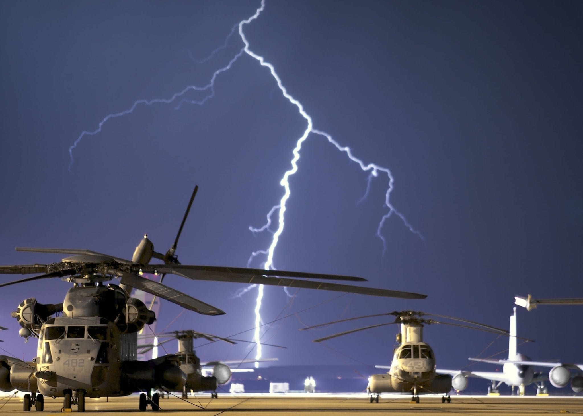 A base that uses lightning protection for military facilities.