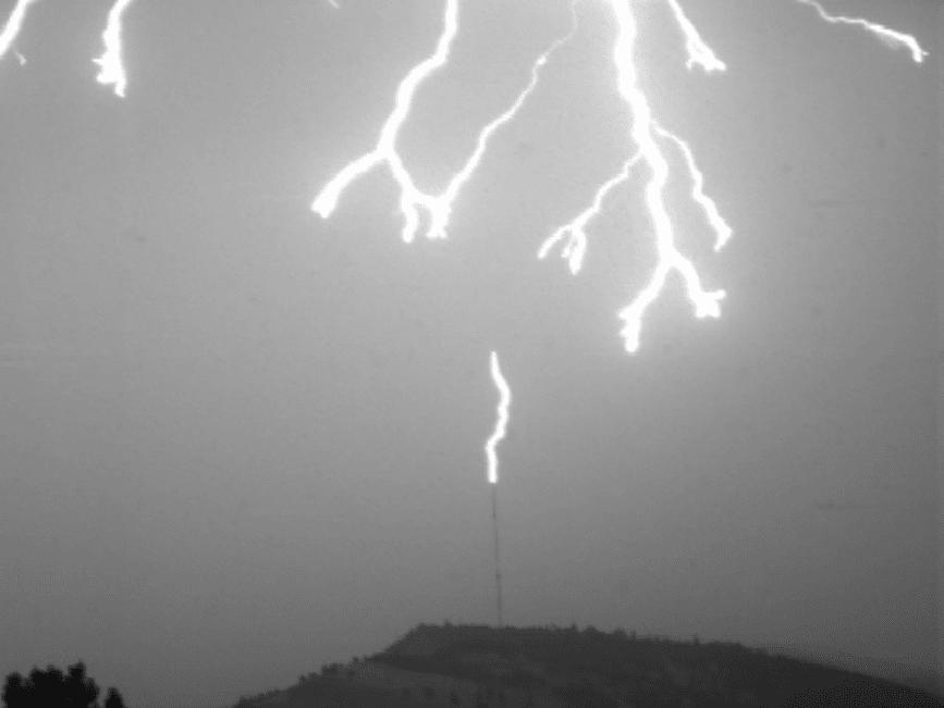 Upward Streamer and Downward Leader Activity in a Lightning Strike